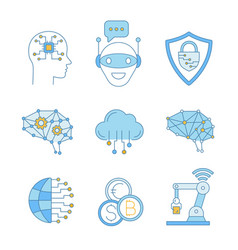 artificial intelligence color icons set vector image