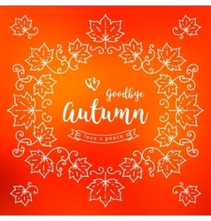 Autumn frame poster card Fall leaves background vector