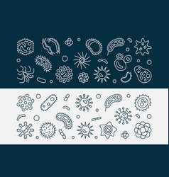 Bacteria and fungi outline banners vector