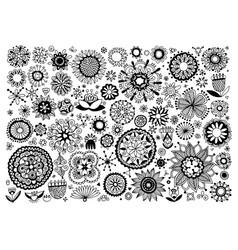 big set doodle sketch flower design elements vector image