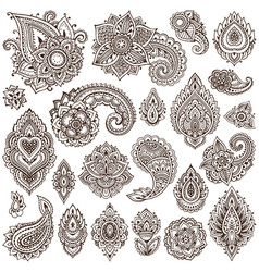 big set of henna floral elements vector image
