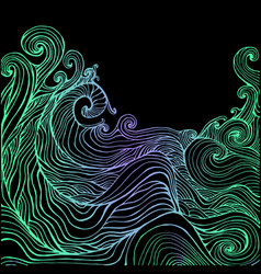 Blue and dark blue fantasy doodles waves vector