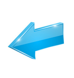 Blue shiny arrow backwards 3d vector