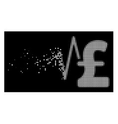 Bright damaged pixel halftone pound financial vector