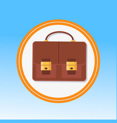 Brown leather briefcase flat vector