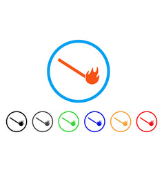 Burned match rounded icon vector