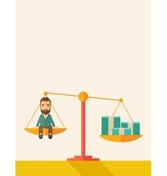 Businessman on a balance scale vector