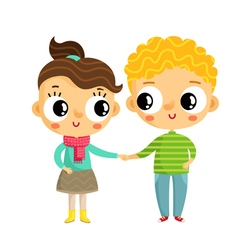 Cartoon girl and boy holding hands cute characters vector
