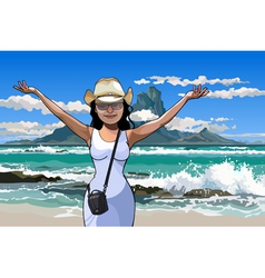 Cartoon girl in a hat standing with arms raised vector
