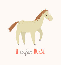 cartoon white horse h is for horse cartoon vector image