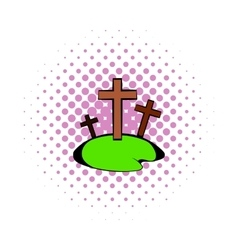 Cemetery icon in comics style vector