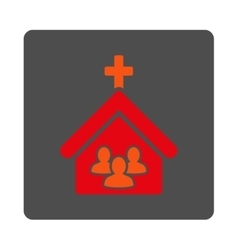 Church Rounded Square Button vector image