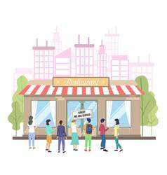 Closed restaurant due to coronavirus pandemic vector