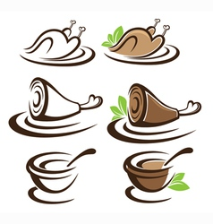 collection of food symbols vector image