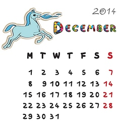 color horse calendar 2014 december vector image