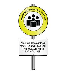 Comical neighborhood watch scheme sign vector