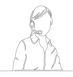 continuous line female customer service operator vector image