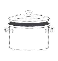 Cooking pot with lid black silhouette and dotted vector