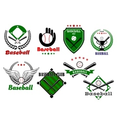 Creative baseball sports emblems and symbols vector image