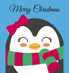 Cute girl penguin vector