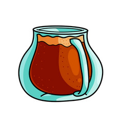 cute transparent glass jug with special hot coffee vector image
