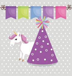 Cute unicorn with party hat kawaii character vector