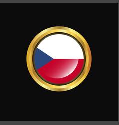 Czech republic flag golden button vector