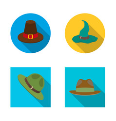 Design of hat and cap icon collection of vector