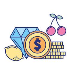Diamond coin dollar casino game bet vector