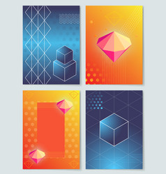 Diamonds and cubes collection vector