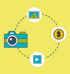 digital marketing camera video money vector image