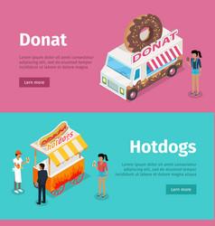 Donut and hotdogs mobile umbrella carts poster vector