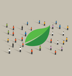 eco friendly crowd green leaf people awareness vector image