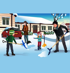 Family shoveling snow in front of their house vector