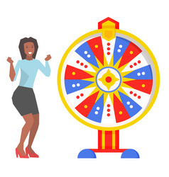 Fortune wheel and excited woman game and roulette vector