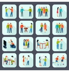 Friends Shadow Icons Set vector image vector image