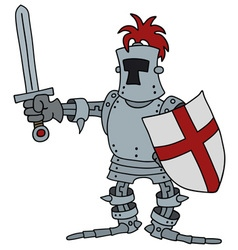 Funny knight with a sword vector