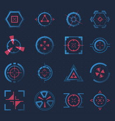 Futuristic crosshairs or aims for target hud icon vector