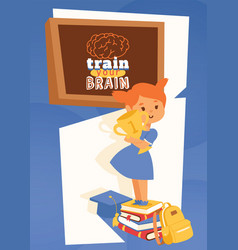 girl with backpack supplies and learning vector image