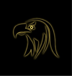 Glowing eagle on black vector image