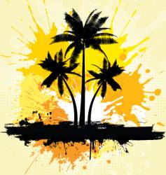 grunge palm trees background vector image