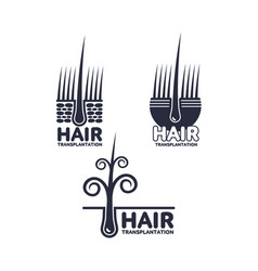 Hair transplantation logo logotype template set vector