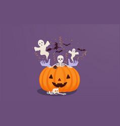 halloween pumpkin with dead mans hands vector image