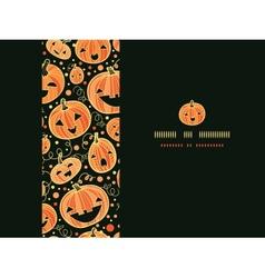 Halloween pumpkins horizontal frame seamless vector image