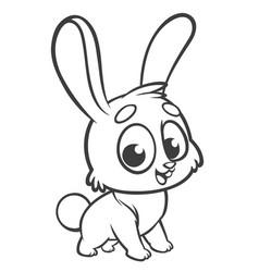 happy blue rabbit cartoon isolated vector image