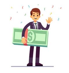 Happy teenager winner holding money dollars prize vector