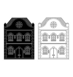house flat black and outline drawing vector image