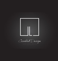 Il square frame letter logo design with black and vector
