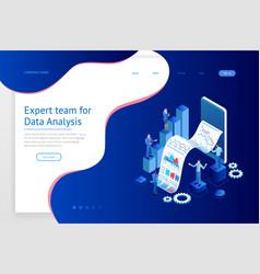 isometric expert team for data analysis business vector image