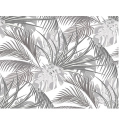 Jungle black and white background with leaves of vector